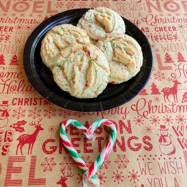 Candy Cane Confetti Cookies
