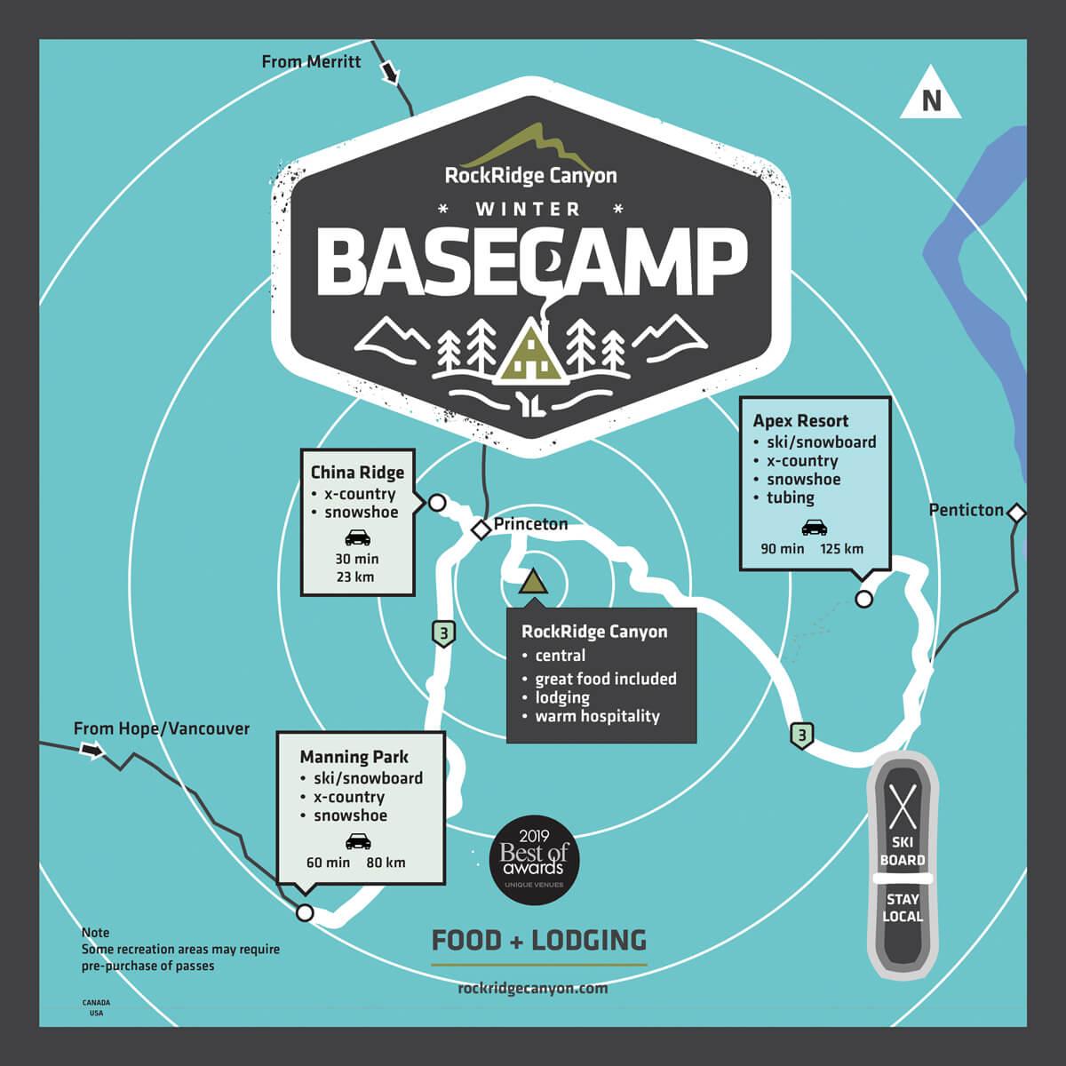 Basecamp map Princeton and Ski areas